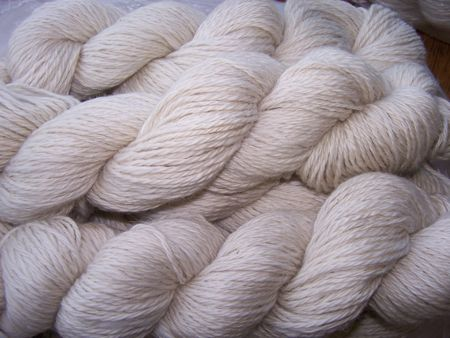 3 ply Aran weight lambswool, certified organic fiber